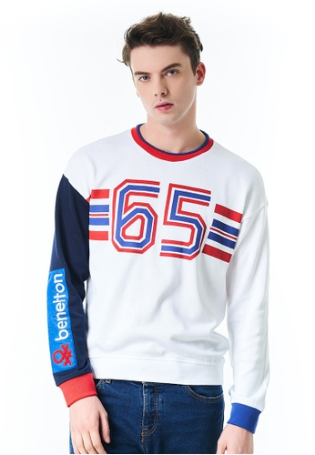 United Colors of Benetton white Logo Printed Sweater 7D089AAB5DB442GS_1