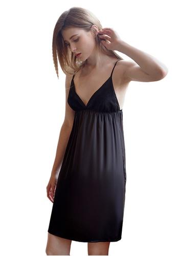 LYCKA black LCB2143-Lady Lace Pajamas Two Pieces Set-Black 16A39USC95B232GS_1