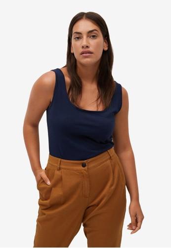 Violeta by MANGO blue Plus Size Cotton Organic Top 8F61BAAFDB1AE4GS_1