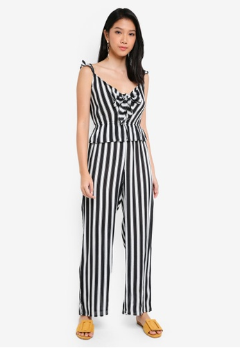 River Island black Bella Bow Front Jumpsuit 8DF0EAA10D8D3EGS_1