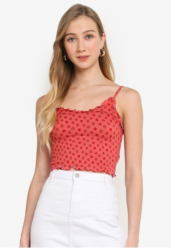Cotton On red Ida Ruched Strappy Cami Top 2A599AA57369DBGS_1