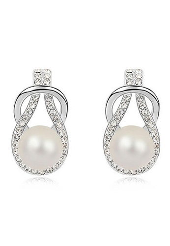 Krystal Couture ALPHA PEARLS Pearl Drop Earrings White Embellished with Swarovski Crystal Pearls C187DAC0D9958FGS_1