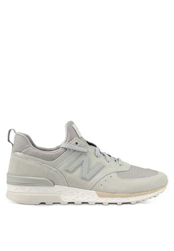 New Balance grey 574 Sport Lifestyle Sneakers NE323SH0SXNEMY_1
