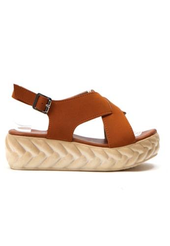 Crystal Korea Fashion brown Korean Summer Cross Suede Platform Sandals E5A7FSH7F981E5GS_1