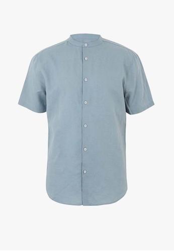 MARKS & SPENCER blue Linen Blend Grandad Shirt 141B3AA421C68CGS_1