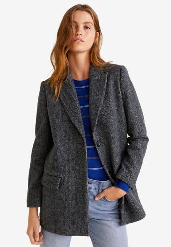 Mango grey Textured Wool Blazer A0948AA7CA5A54GS_1