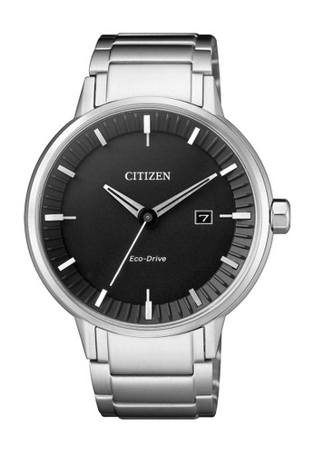 CITIZEN silver Citizen Eco-Drive Black and Silver Stainless Steel Watch 808C8ACC4BB406GS_1