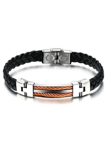 YOUNIQ black and gold YOUNIQ Titanium Steel Line Genuine Leather Bracelet for Men (RoseGold) YO999AC70LSFMY_1