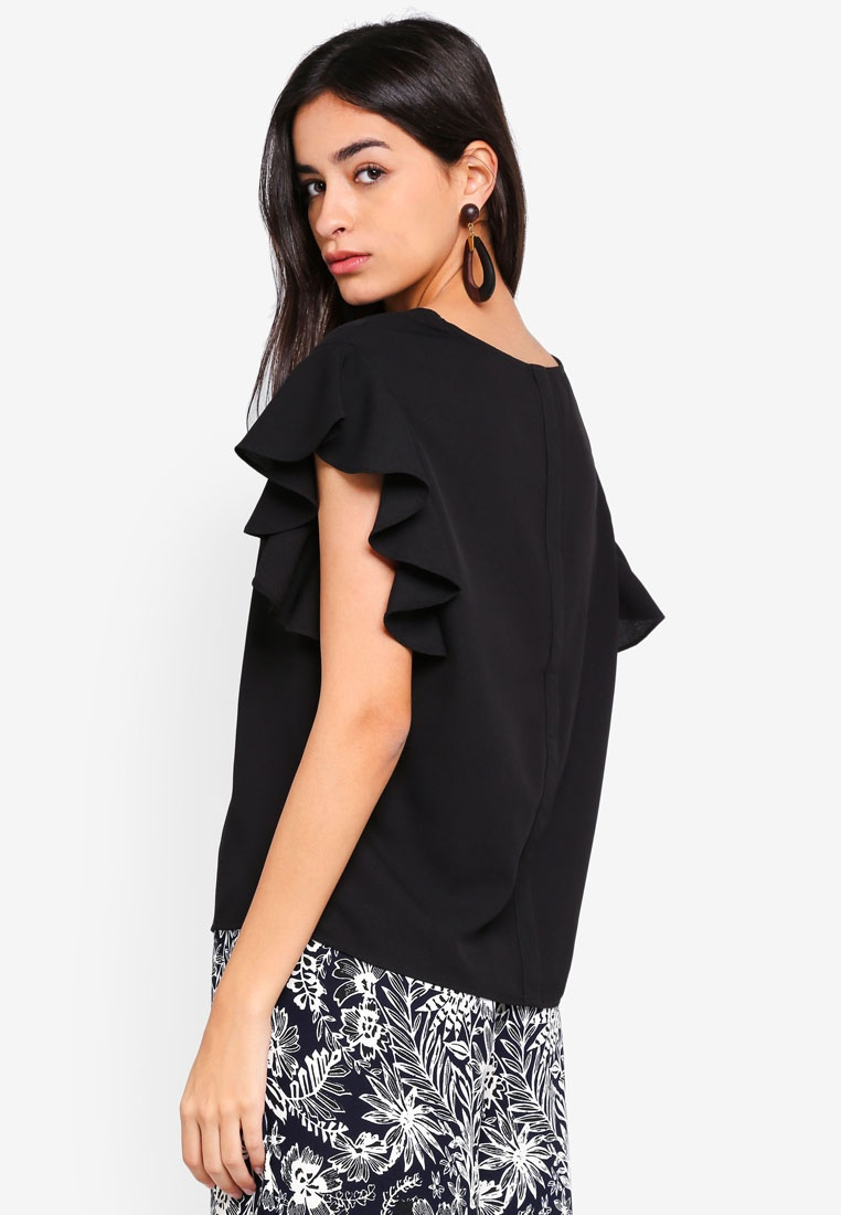 Vero Sleeve Top Short Moda Elisia Black ngqrgTpwY