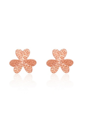 MaBelle red and silver 14K 585 Rose and White Gold Diamond Cut Lucky Clover Stud Earrings 4D9F3AC4E05923GS_1