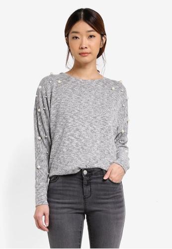Dorothy Perkins grey Pearl Sleeve Jumper DO816AA0T06DMY_1