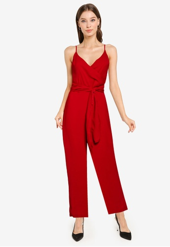 ZALORA OCCASION red Overlap Top Jumpsuit With Self Tie A607FAABD1DC0EGS_1