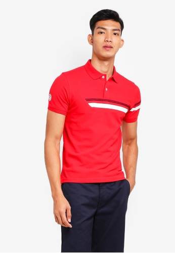 Volkswagen red Stripe Tape Polo Shirt 808E4AACFA7A98GS_1