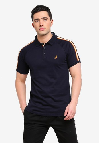Brave Soul navy Khalifa Polo Shirt with Sleeve Tape A8870AAB081FFCGS_1