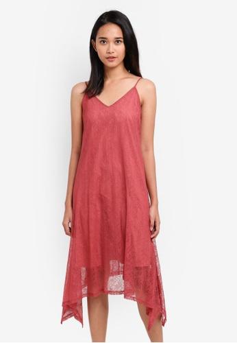 Something Borrowed pink Waterfall Hem Midi Dress 63AD6AAEFFB950GS_1