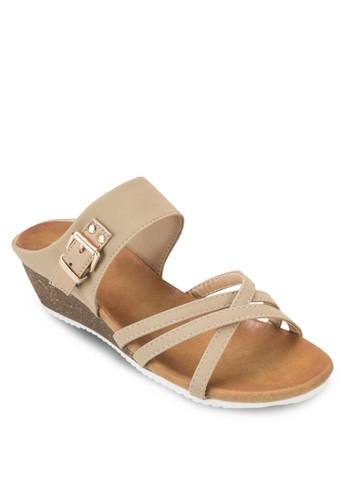 交叉多帶楔型跟涼鞋, 女zalora 男鞋 評價鞋, 楔形涼鞋