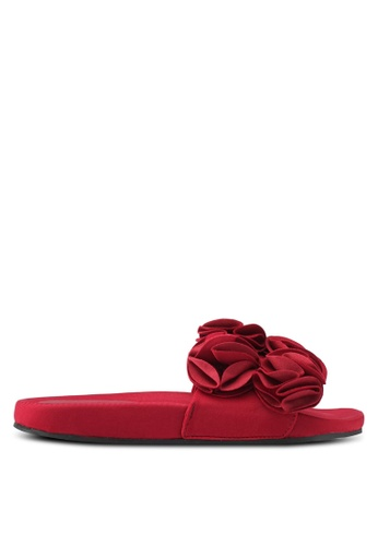 TOPSHOP red HEWITT Ruffle Sliders TO412SH0SLDMMY_1