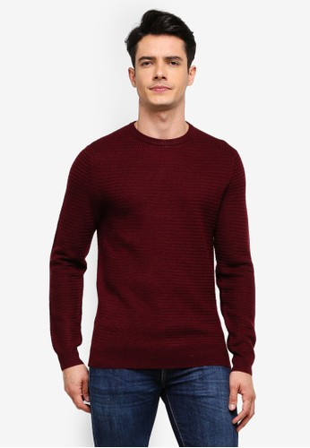 MANGO Man red Structured Wool Sweater 2AA2EAAB313215GS_1