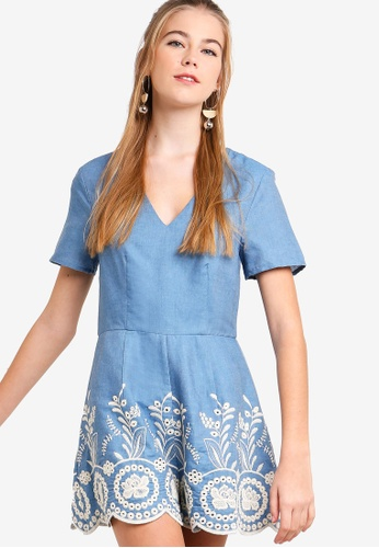 Something Borrowed blue Embroidered Hem Playsuit 99B77AA17E70BBGS_1