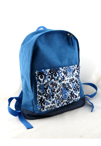 Esther Accessories blue Backpack with printed front pocket - Marine ES153AC45SJQHK_1