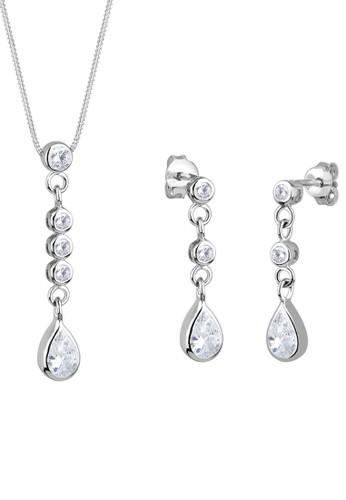 925 晶鑽墜飾項鍊耳環組, 飾zalora 鞋評價品配件, 項鍊