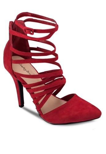 多帶尖頭zalora 衣服尺寸麂皮高跟鞋, 女鞋, 鞋