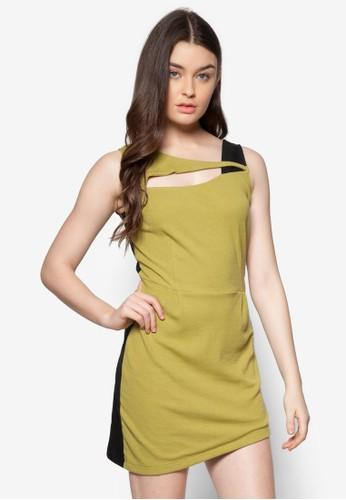 zalora時尚購物網的koumi koumi斜下擺雙色連身裙, 服飾, 派對洋裝