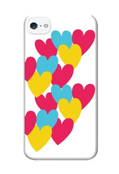 Hearts Matte Semi-Transparent Case for iPhone 4,4s
