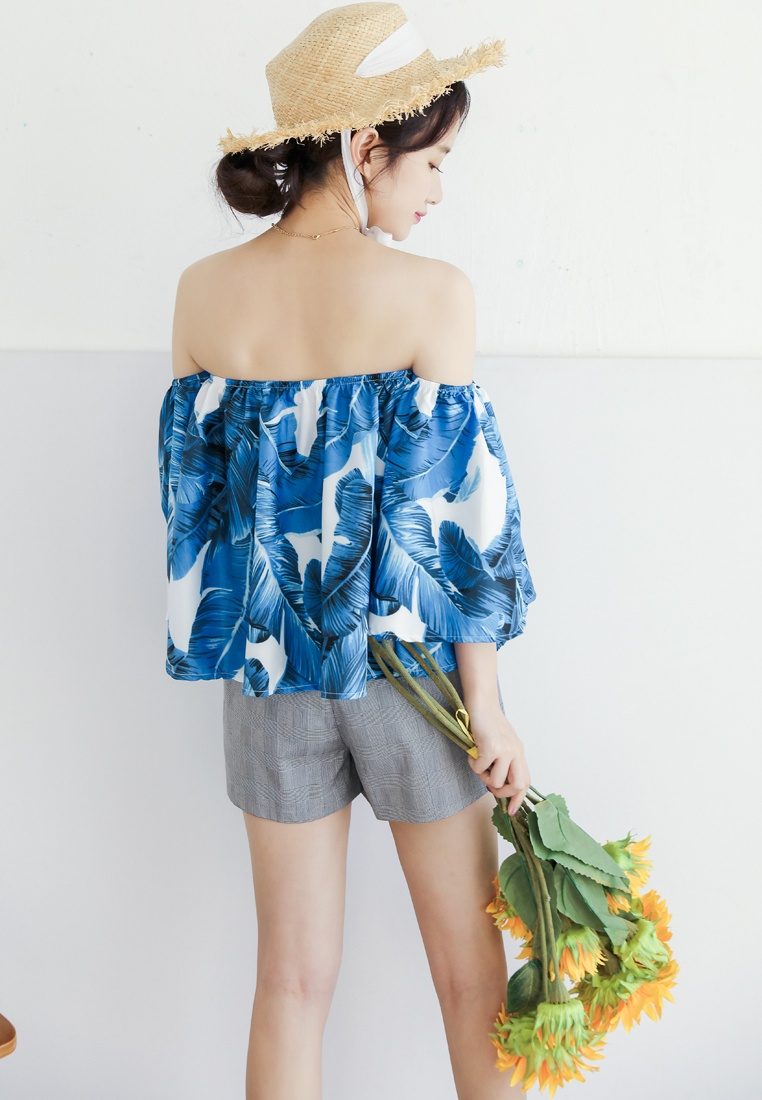 Printed Blouse Blue Blue Shopsfashion Off Leaves White Shoulder E1ZUxqOng