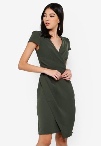 Paper Dolls green Khaki Gathered Dress B115AAA7ABB2DAGS_1