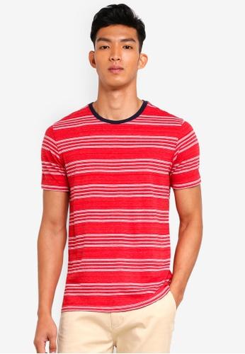 UniqTee 紅色 短袖條紋T恤 3A136AA4CE6195GS_1