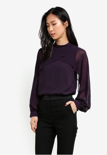 WAREHOUSE purple Layered Cape Top WA653AA0SBZJMY_1