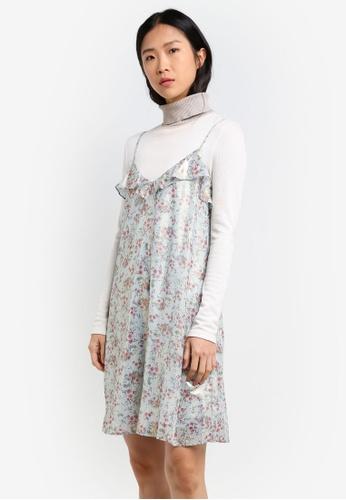 Mango blue Metallic Floral Dress MA193AA0RXR0MY_1