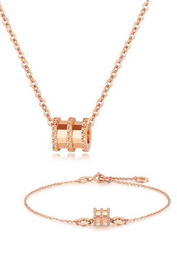 Celovis Celovis Allotar Barrel Roll Ring Pendant Necklace Bracelet Set Rose Gold 2021 Buy Celovis Online Zalora Hong Kong