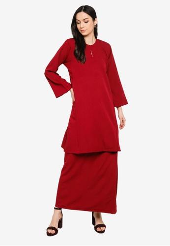 Butik Sireh Pinang red Baju Kurung Pahang Salimah DB725AA4D28DBAGS_1