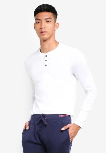 Burton Menswear London white White Long Sleeve Grandad T-Shirt D770CAAAA3F930GS_1