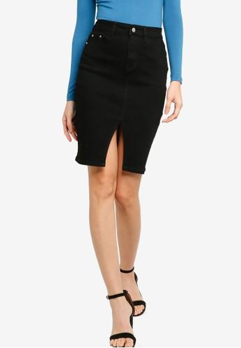 ZALORA BASICS black Front Slit Denim Skirt FFF77AAEEC328AGS_1