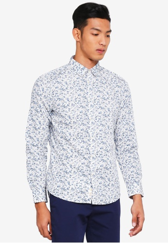 Sisley 白色 滿版碎花長袖襯衫 8F464AAC14384DGS_1