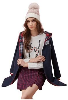 OUWEY歐薇 撞色羅紋邊造型貼布繡連帽長版外套 H51451