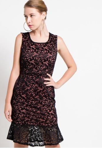 Raspberry black Yuki Lace Sheath Midi Dress RA572AA56QYDID_1