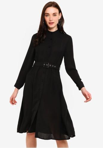 ZALORA black Gathered Waist Belted Dress 9FEA9AA1B3087FGS_1