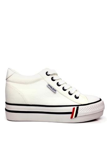 Twenty Eight Shoes 白色 帆布內增高厚底休閒鞋 VC8502 B3F31SH02E1181GS_1
