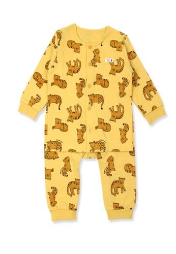 Organic mom yellow and brown Boys Autumn-Winter Tiger Home-wear Pajamas 0BB56KACEDA9C1GS_1