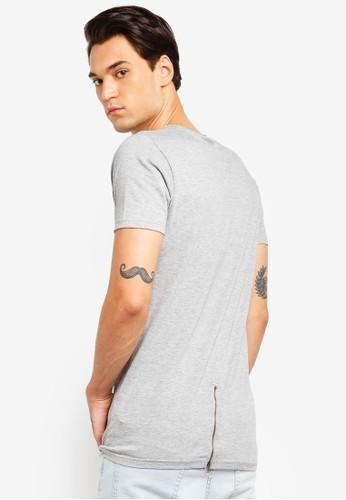 Brave Soul grey Longline Zip Back T-Shirt 3B08DAA52E7856GS_1