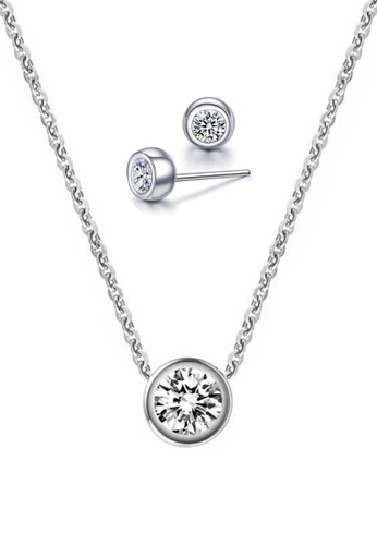 CELOVIS silver CELOVIS - Lux Classic Round White Zirconia Bezel Solitaire Pendant Necklace + Earrings Set (SIlver) A523FACA260AAAGS_1