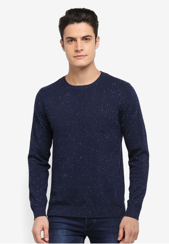 Selected Homme blue and navy Lark Crew Neck Pullover DF57AAABF8040CGS_1