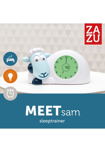 Zazu blue [Zazu Kids] SAM the Lamb, Sleep Trainer with Nightlight, Comes with Analogue and Digital Clock for Kids - Blue 0E38DHL96DA3F8GS_1