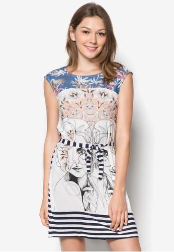 Irataua 條紋印花esprit 品牌洋裝, 服飾, 服飾