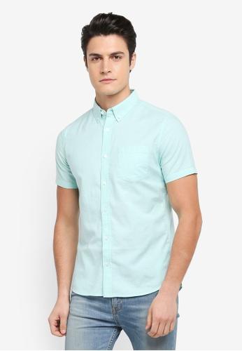 Burton Menswear London green Short Sleeve Oxford Shirt 4BF81AADACBA9CGS_1