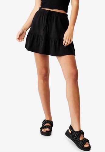 Cotton On black Tori Tiered Mini Jersey Skirt 0FCBBAA3C5E9AFGS_1